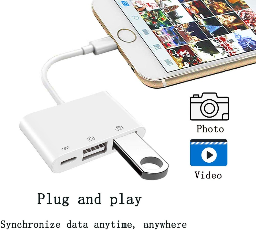 Mobile Phone OTG Adapter 8 Pin to Dual USB 3-in-1 Card Reader U Disk Mouse for iPhone 11 / X / 7 / 8 / 6 Plus - White