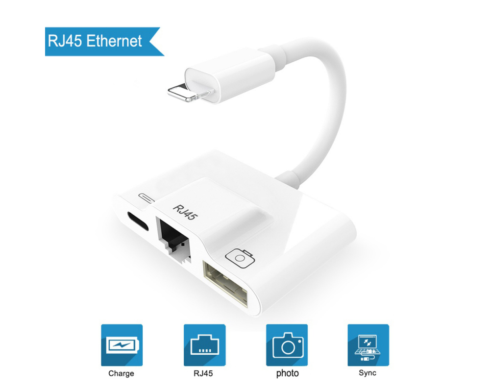 Adapter Cable 8-pin to RJ45 Plug-and-play USB Camera Reader Charging Converter - White