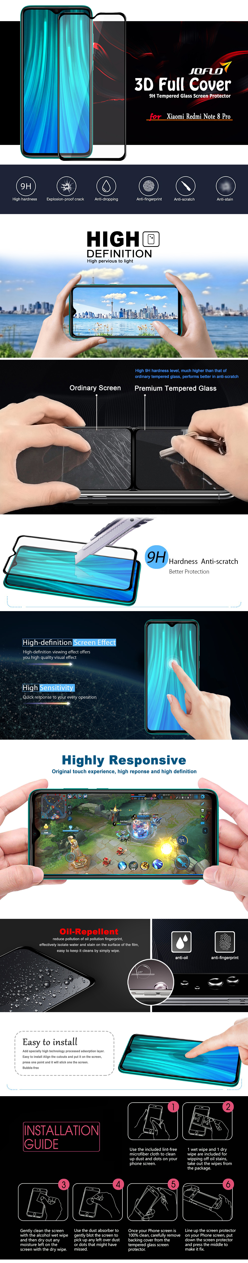 3D Full Cover Tempered Glass Screen Protector for  Redmi Note 8 Pro - Black 1pc