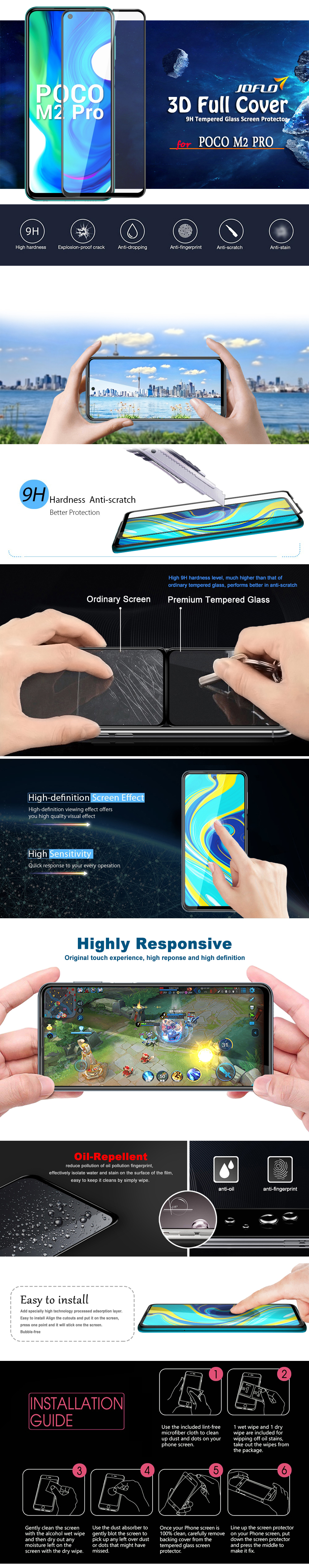 3D Full Cover Tempered Glass Screen Protector Film for Xiaomi POCO M2 Pro - Black 1pc