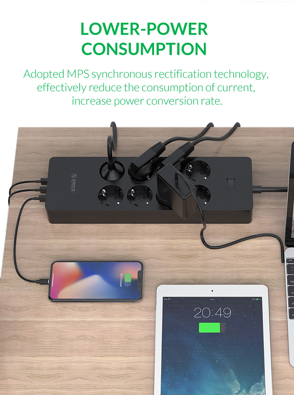 ORICO Universal Electrical Socket EU Plug Smart Extension Power Strip Home Office Surge Protector 4 6 8 AC with 5 USB - Black HPC-4A5U-V1
