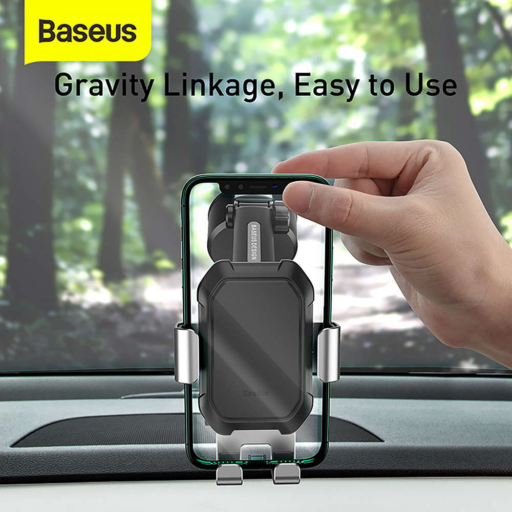 Baseus SUYL-TK0 Gravity Sucker Car Phone Holder Car Mount Holder with Suction Base - Silver