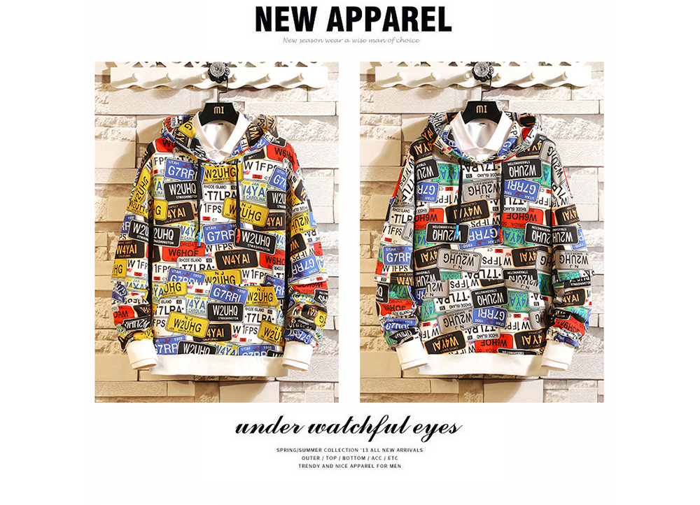 Men Spring Autumn Letters Printed Long-sleeved Hoodie Sweater Coat - Yellow 4XL