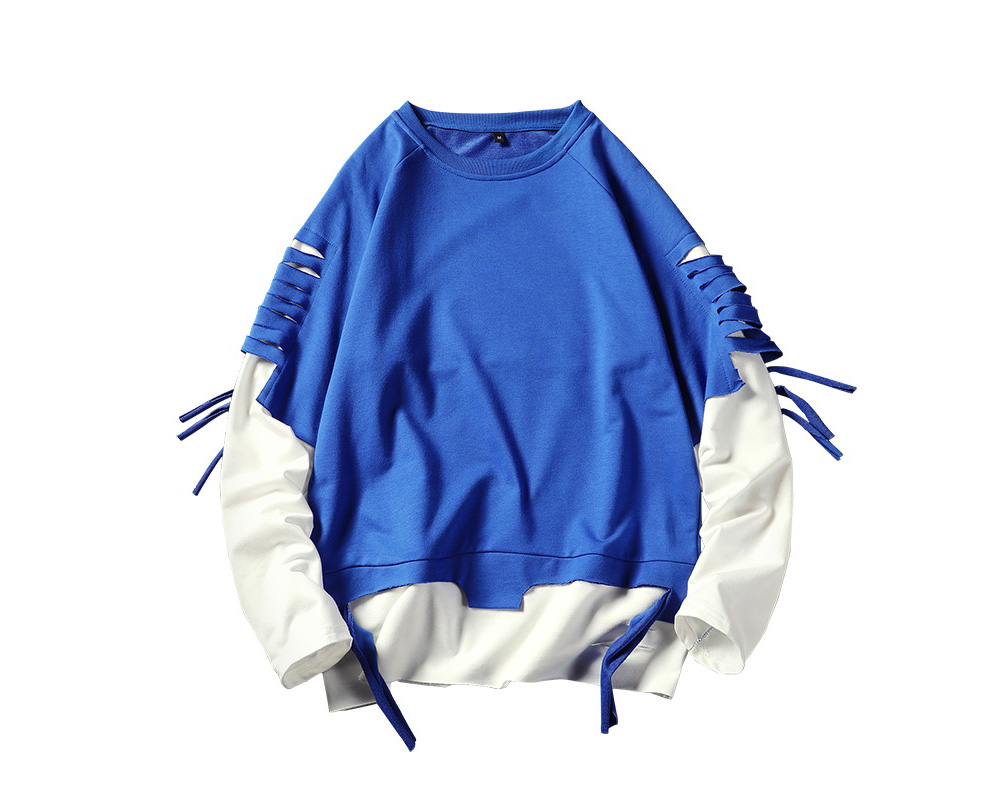 Men Spring and Autumn Solid Color Sweatshirt Long-sleeved Sweater Coat - Blue 2XL