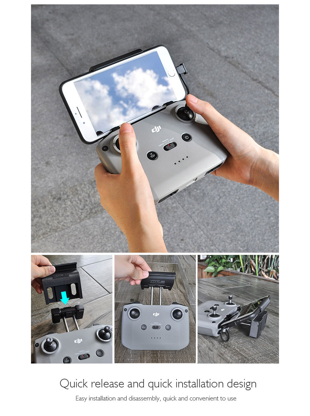 STARTRC Stand Holder Mount Bracket for DJI Mavic Air 2 Compatible with 8 /11 inch Tablet Smartphone - Black Mobile phone