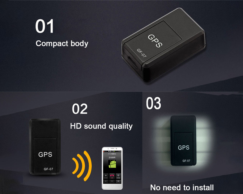 Micro GPS Tracker Speaking Time 180 Minutes Positioning Time 25 Seconds - Black