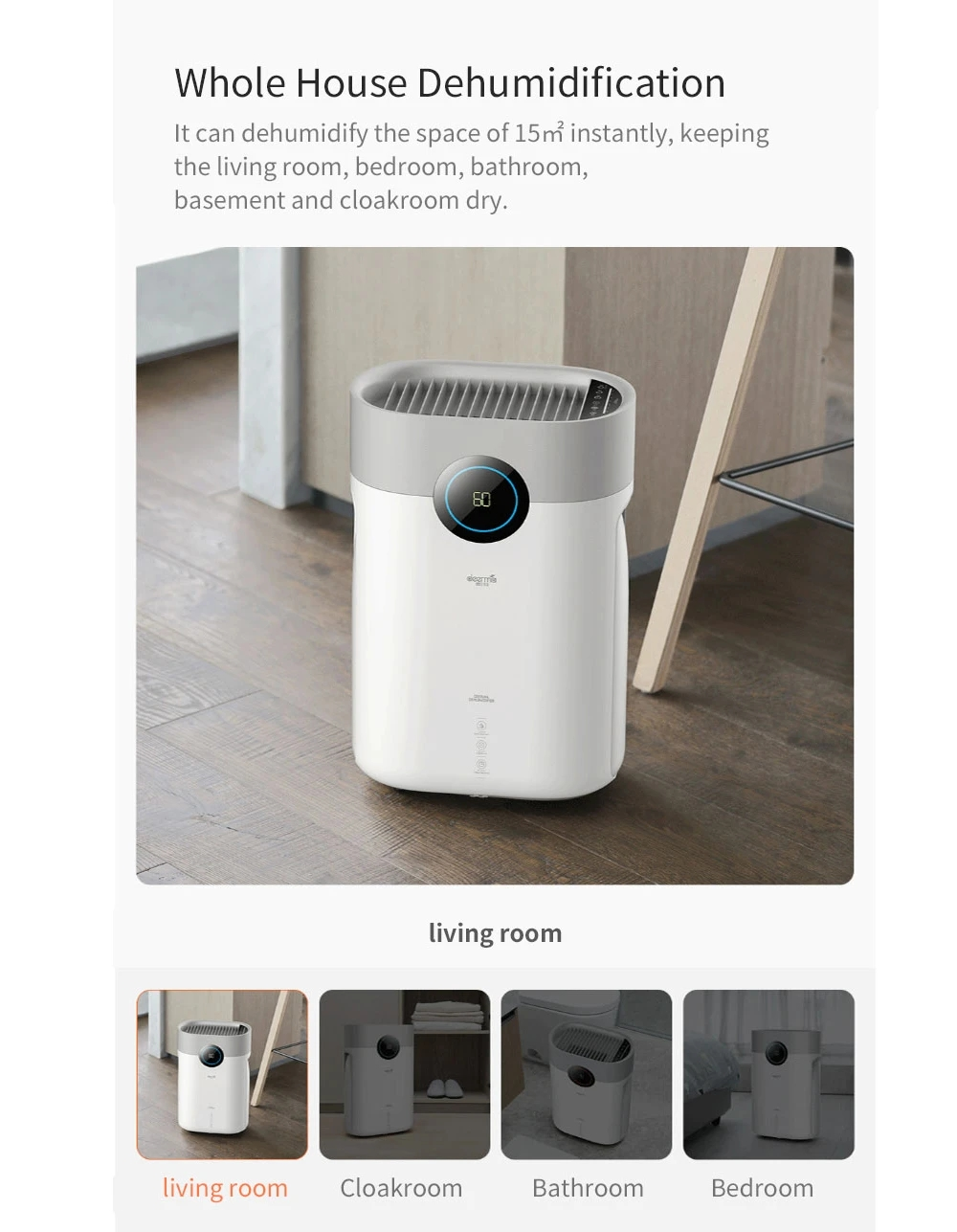 Deerma DEM-DT16C Air Dehumidifier EU Plug Dual Display Smart Screen - White