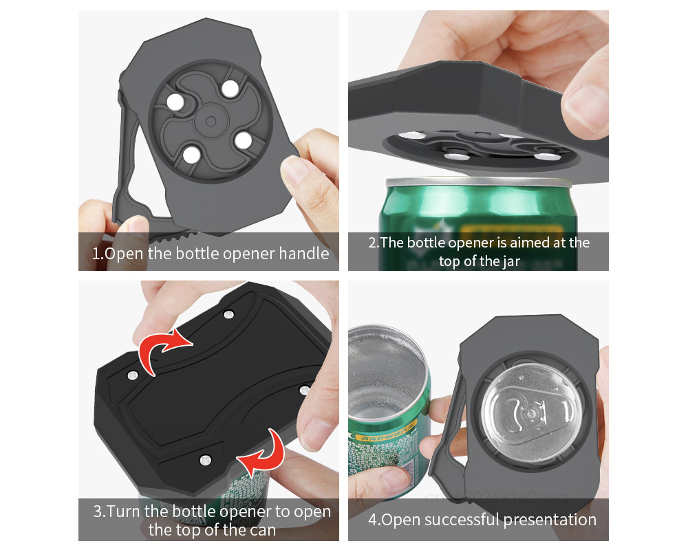 Beverage Cans Opener Portable Beer Cans Opener (Chinese Version Upgrade) - Black