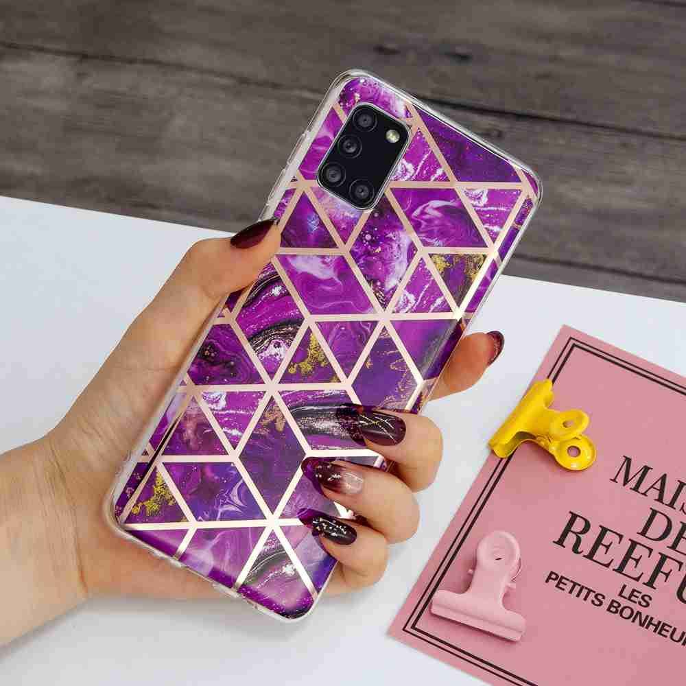 Electroplated Marble Process Phone Case for Samsung Galaxy A31 - Multi-A