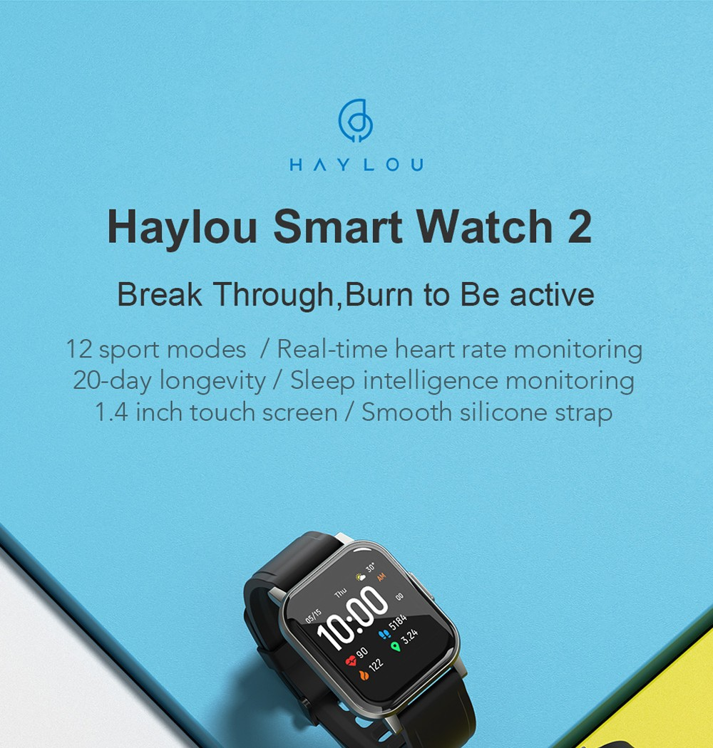 Haylou LS02 1.4 inch Large HD Screen Smart Watch Bluetooth 5.0 12 Sports Modes 15 Days Long Standby Wristwatch Global Version - Black
