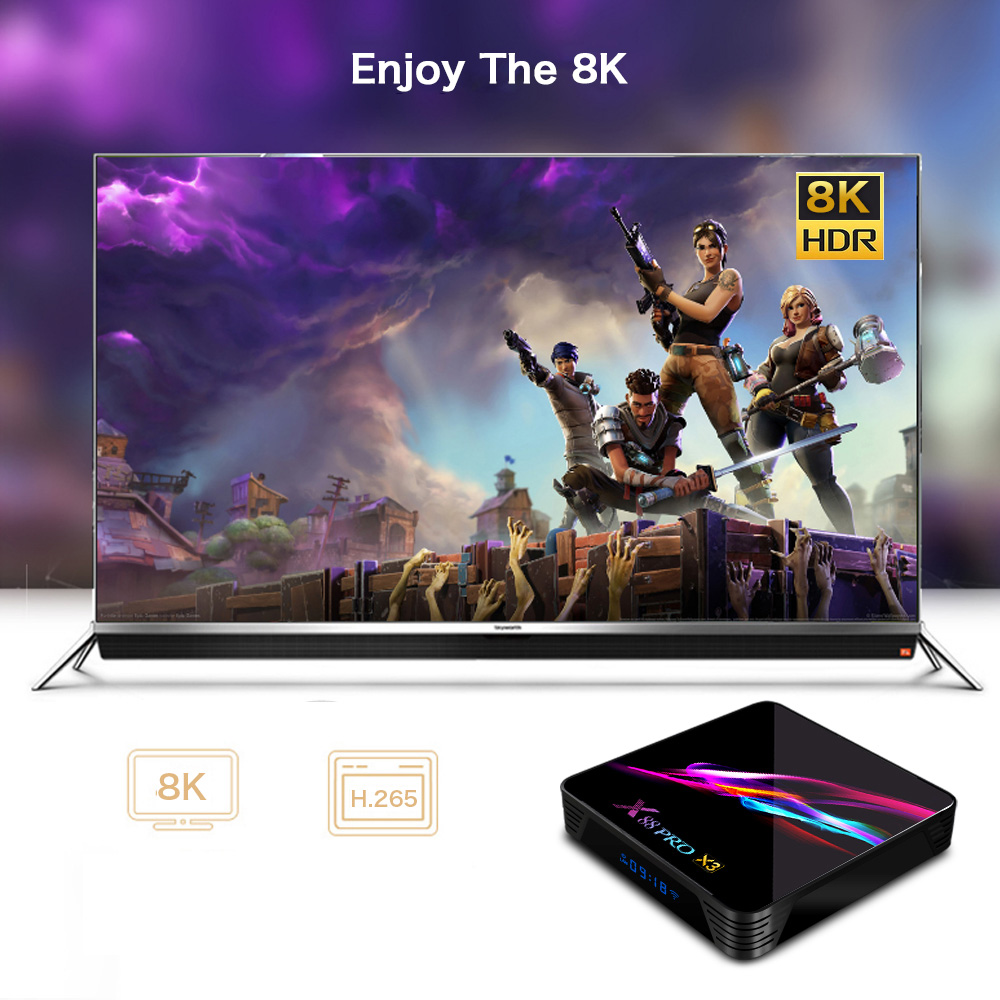 X88 PRO X3 Android 9.0 Dual-Band Smart 8K TV Box - Black 4GB RAM + 32GB ROM US Plug