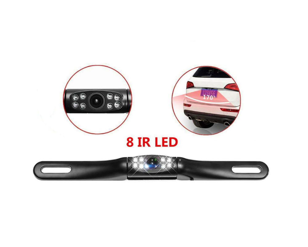Car Rear View Reversing Backup WIFI Camera Long License Plate 8 LED Lights - Black