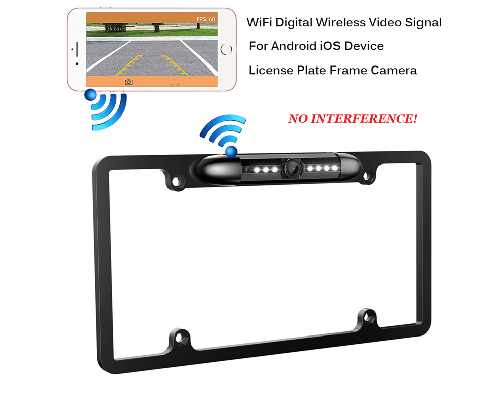 WiFi Digital Wireless Backup Camera for iPhone / Android IP67 Waterproof Car License Plate Frame Camera - Black