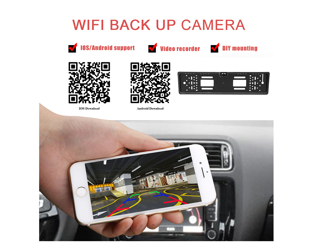 WiFi Car DVR Dash Cam Car Rear View Camera Wireless European Car License Plate Frame Reverse Camera for IOS Android - Black