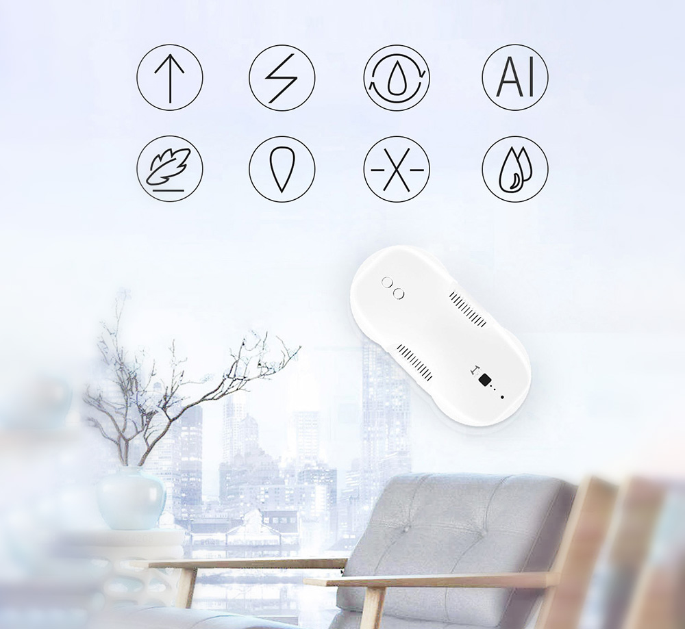 HUTT DDC55 Electric Variable Frequency Auto Window Cleaning Robot from Xiaomi Youpin - White