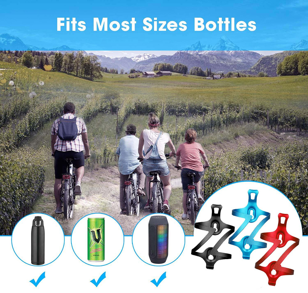 Bicycle Bottle Cage Aluminum Alloy Universal Mountain Road Bike Water Cup Holder Bicycle Water Holder Riding Equipment - Blue