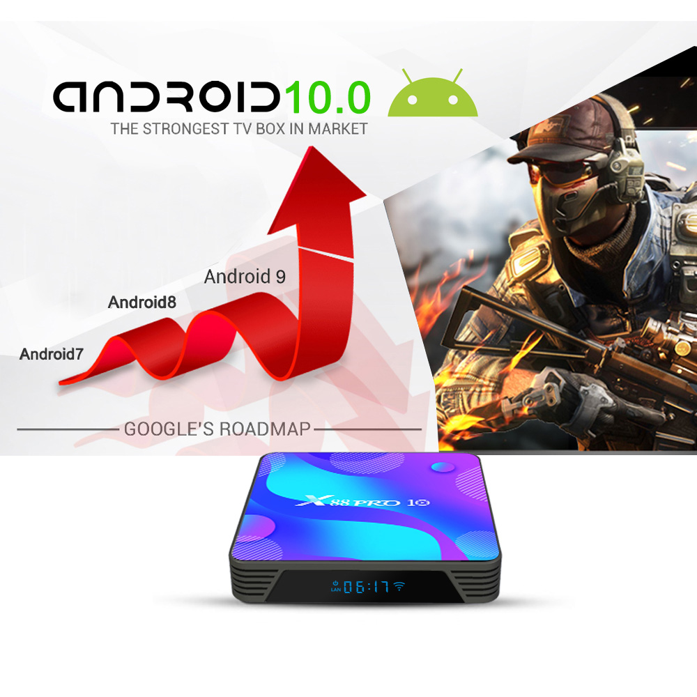 X88 Pro10 Android Smart 4K TV Box - Blue 2GB RAM+16GB ROM US plug