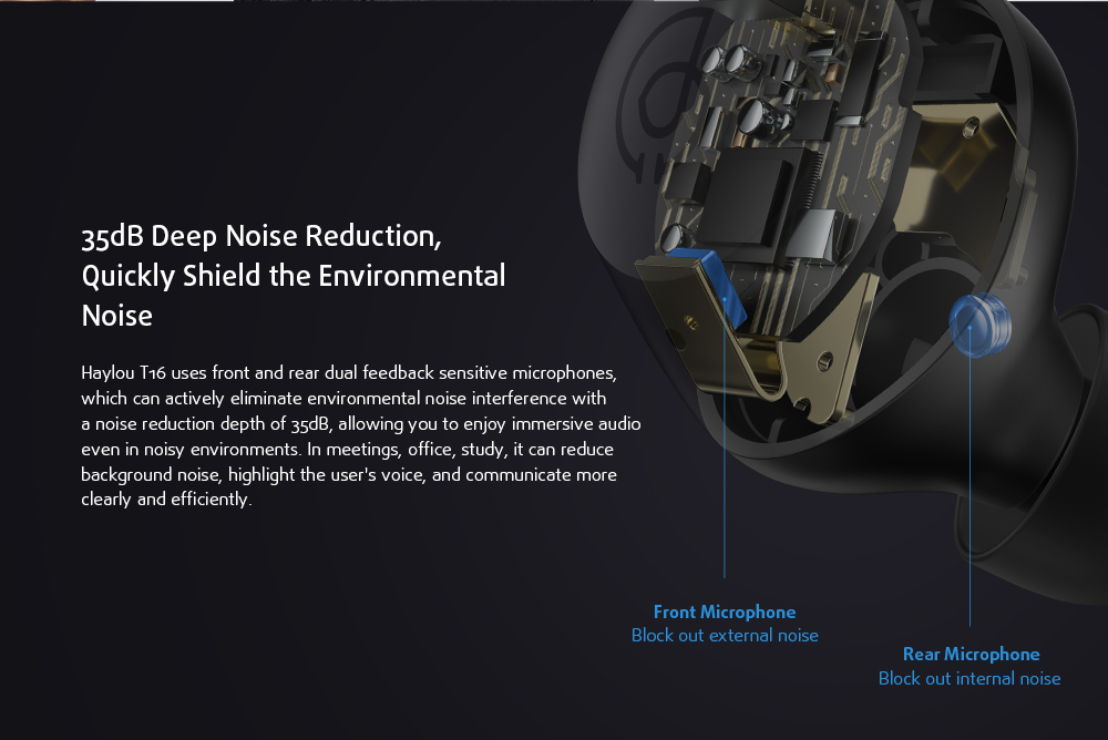 HAYLOU T16 Bluetooth Headphone Noise Reduction