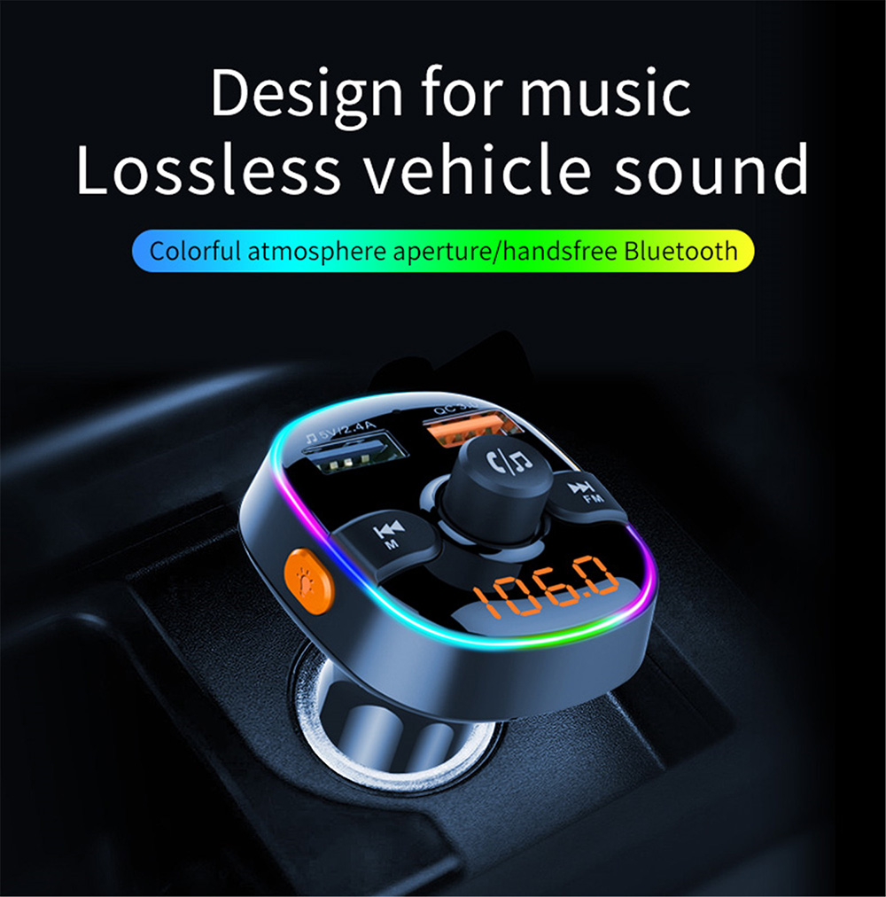 BC52 FM Transmitter Car Bluetooth Hands-Free Phone Vehicle MP3 Player QC3.0 Charger - Black