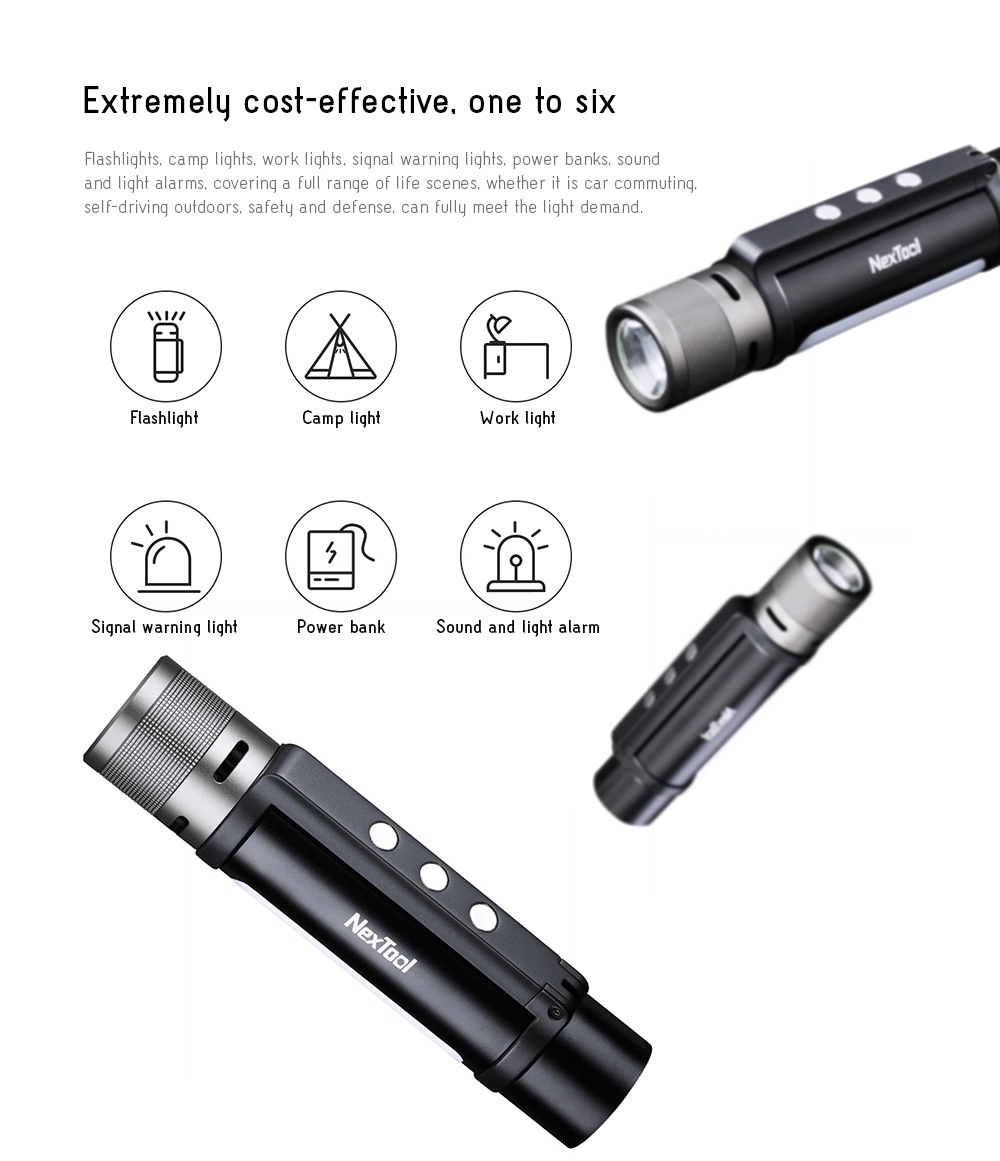 NexTool Outdoor 6-in-1 Thunder Flashlight Extremely cost-effective, one to six