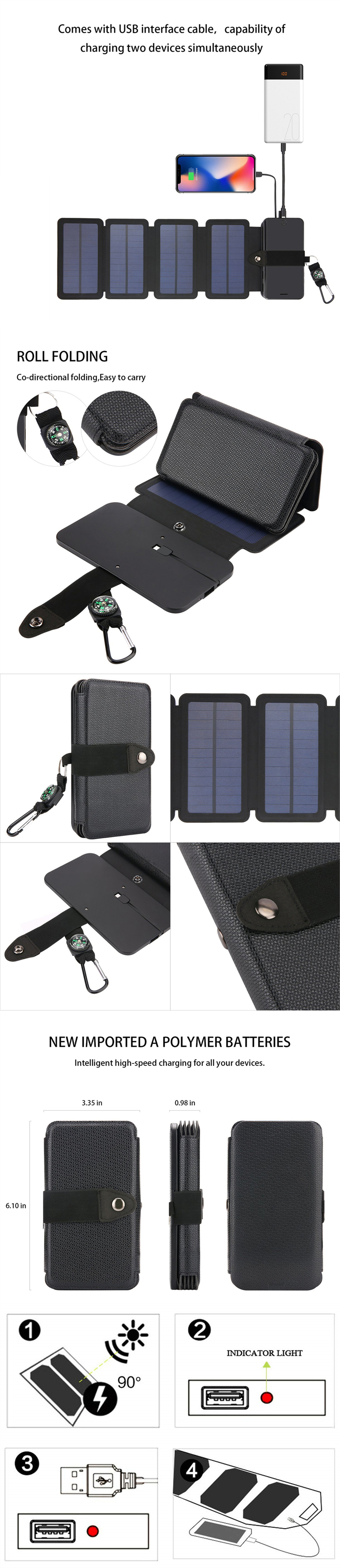 Minismile 7W Portable Solar Charging Panel Removable Folding Charger for Phone - Black
