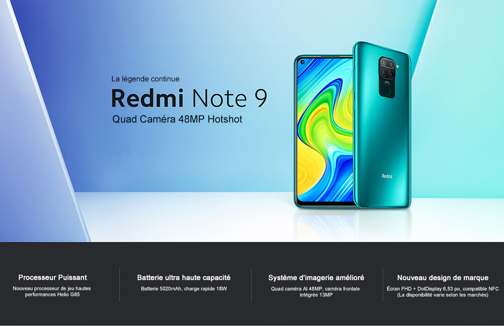 Xiaomi Redmi Note 9 4G Smartphone MTK Helio G85 Octa Core 2.0GHz 6.53 inch 48MP + 8MP + 2MP + 2MP 5020mAh Battery NFC EU Version - Gray 3GB+64GB