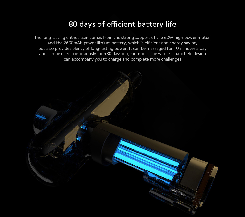 YUNMAI Massage Fascia Gun 80 days of efficient battery life