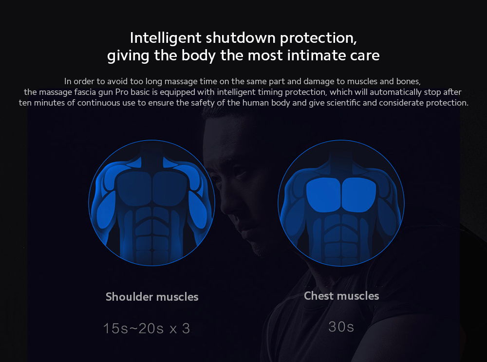 YUNMAI Massage Fascia Gun Intelligent shutdown protection, giving the body the most intimate care