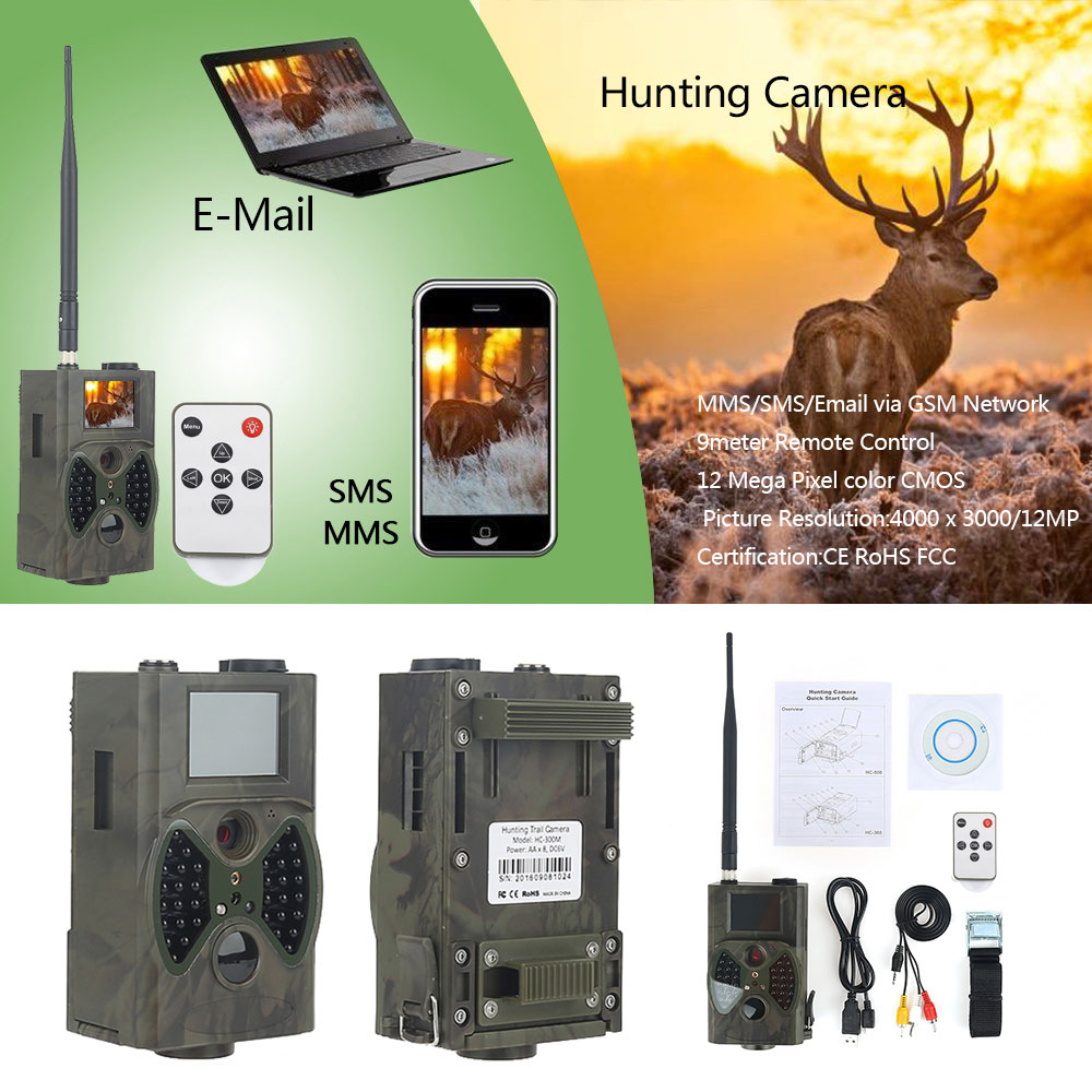 HC-300M 12 million Pixels Outdoor Hunting Camera Sensor Night Vision Automatic Infrared MMS Webcam - Woodland Camouflage