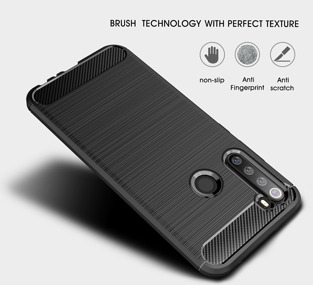 Naxtop Full Protective Phone Case Carbon Fiber Brushed Soft Bumper Back Cover for Xiaomi Redmi Note 8 Pro / Note 8 / Note 9 / Note 9 Pro / Note 9 Pro Max / Note 9S - Red for Xiaomi Redmi Note 9 Pro Max