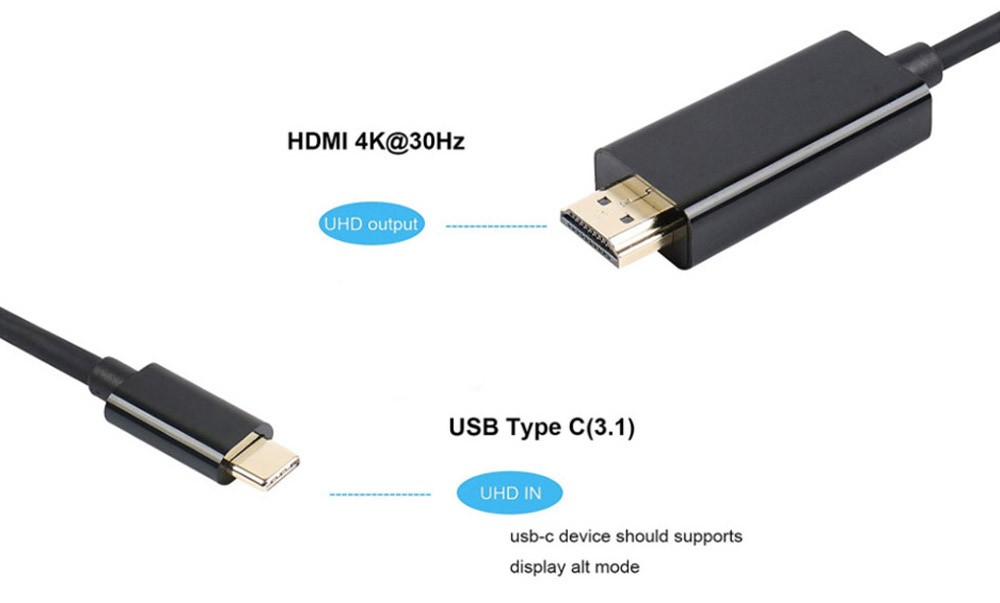 USB3.1 Type-C to HDMI 2K / 4K HD Video Adapter Cable 1.8M - Black