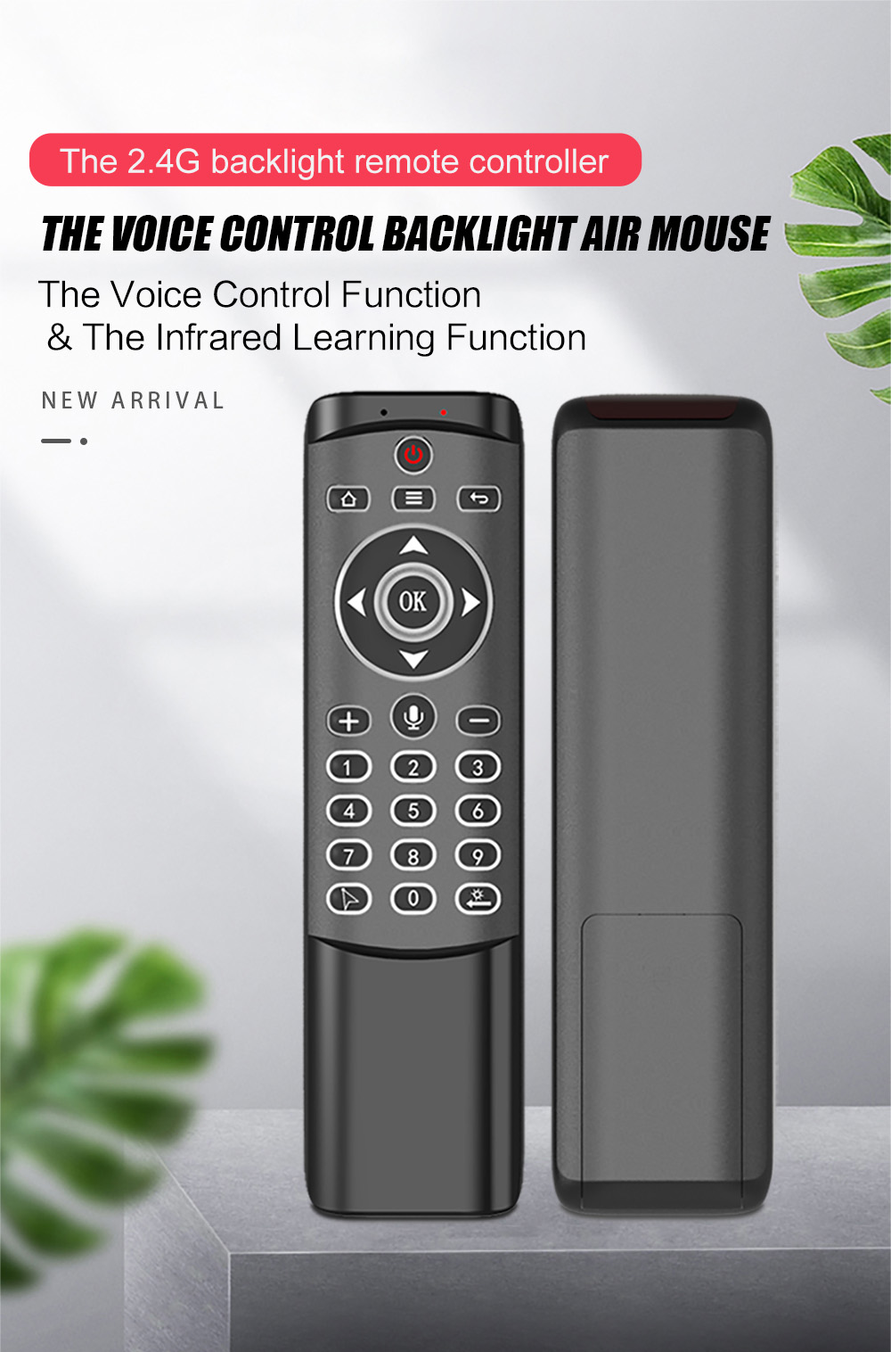 MT1 Wireless Voice Control Remote Control 2.4G Air Mouse - Black