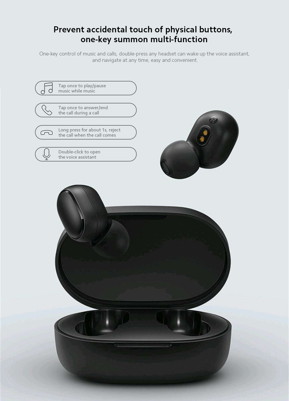 Xiaomi Airdots 2 Wireless Earphone Prevent accidental touch of physical buttons, one-key summon multi-function