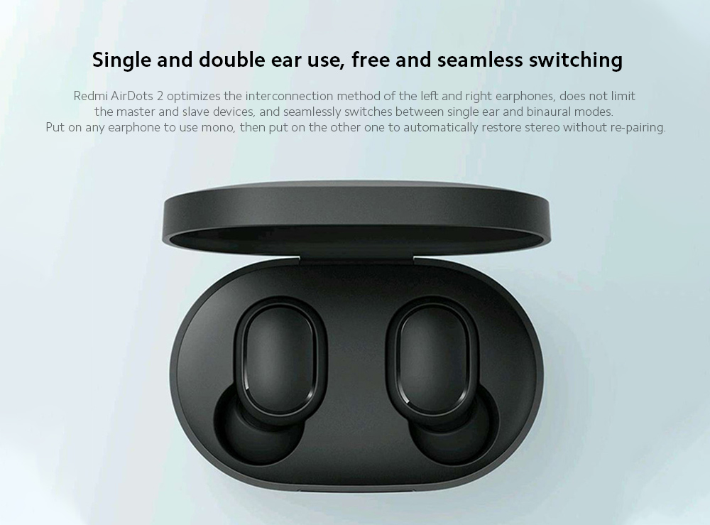 Xiaomi Airdots 2 Wireless Earphone Single and double ear use, free and seamless switching