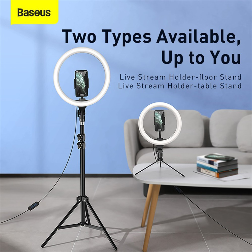 Baseus Live Stream Holder-table Stand USB Charging with LED Light Ring - Black 12 inch
