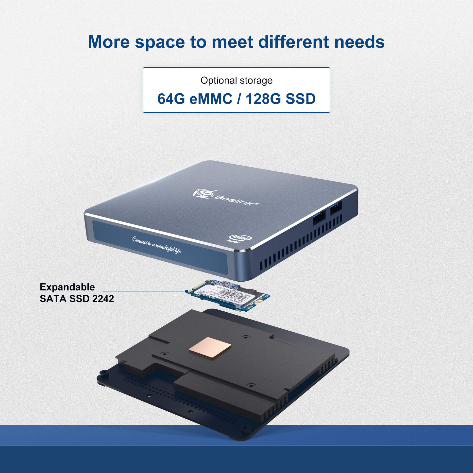 Beelink Gemini-M Double Screen Ultra-Thin Mini PC More space to meet different needs
