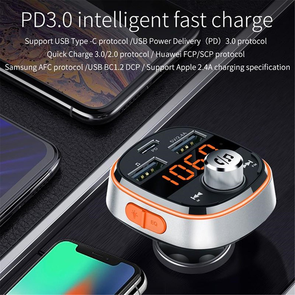 BC51T Bluetooth Car Mp3 Player PD3.0 intelligent fast charge