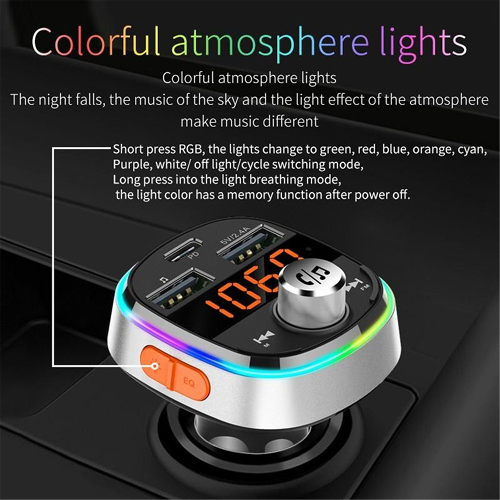 BC51T Bluetooth Car Mp3 Player Colorful atmosphere lights