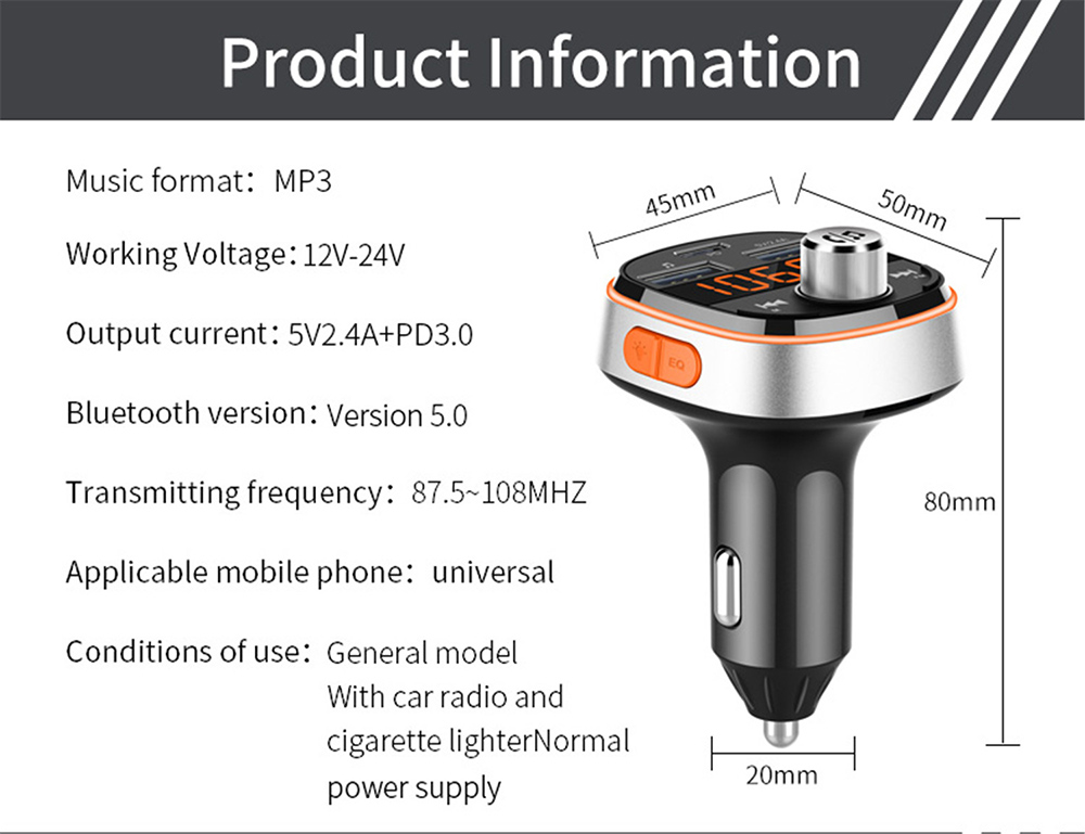 BC51T Bluetooth Car Mp3 Player information