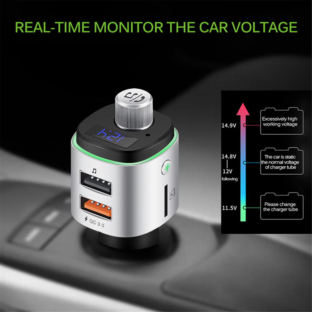 BC42 Bluetooth Car Mp3 Player REAL-TIME MONITOR THE CAR VOLTAGE