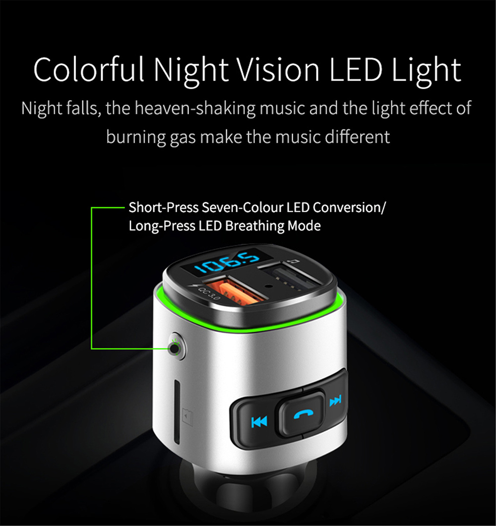 BC41 Bluetooth Car Mp3 Player Colorful night vision LED light