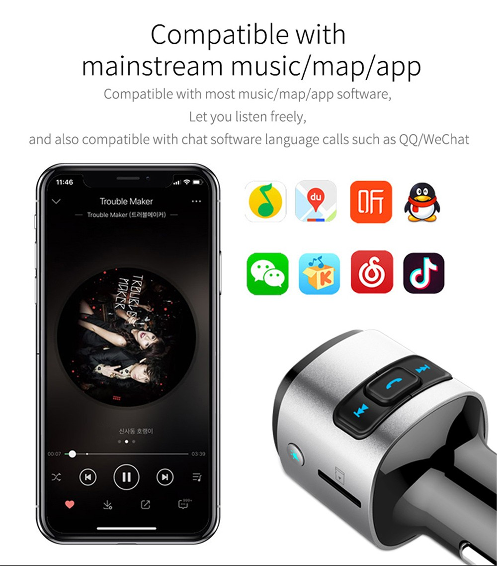 BC41 Bluetooth Car Mp3 Player Compatible with mainstream music/map/app