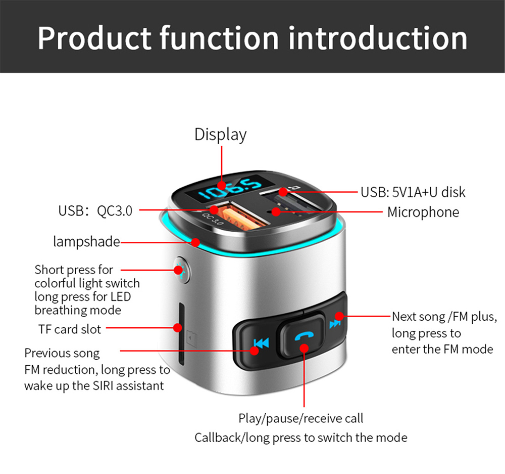 BC41 Bluetooth Car Mp3 Player function introduction