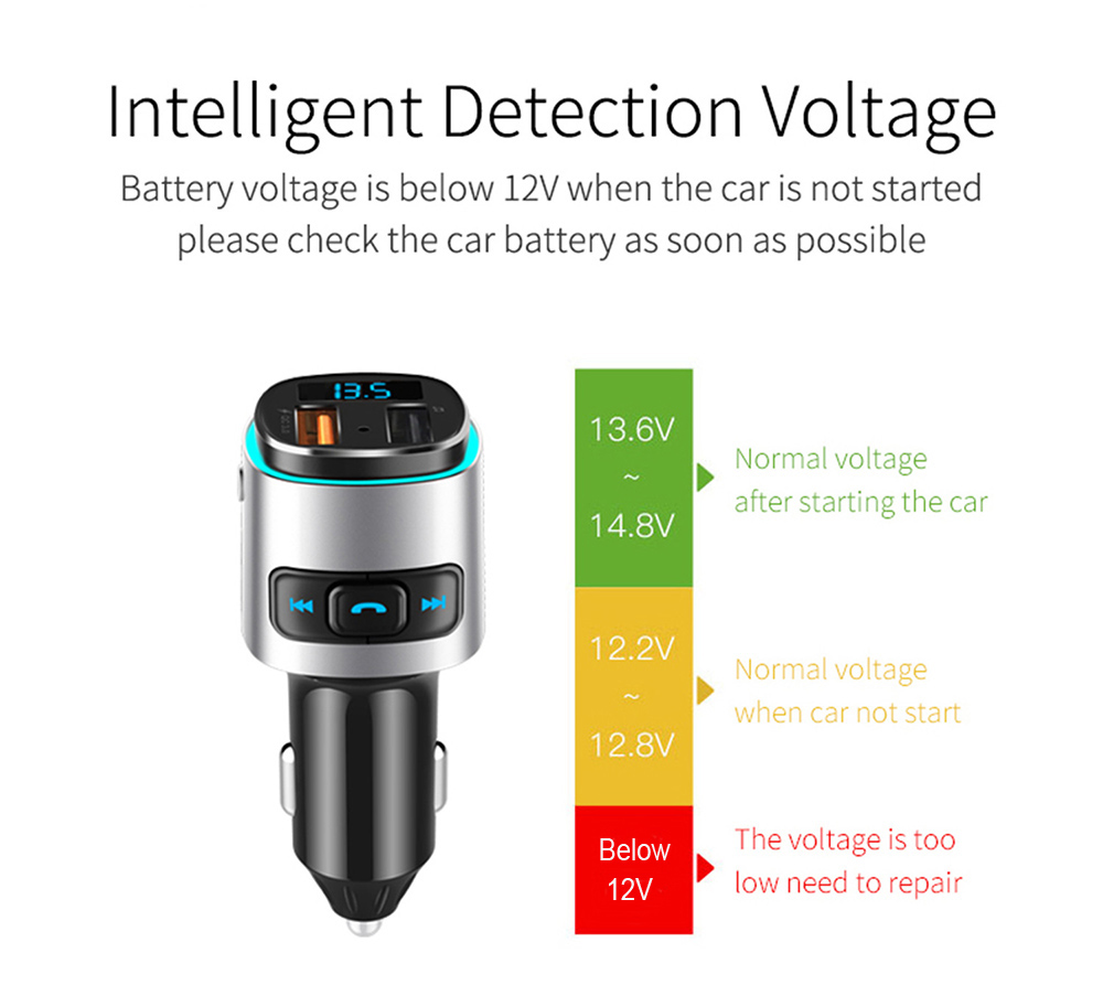 BC41 Bluetooth Car Mp3 Player Intelligent Detection Voltage