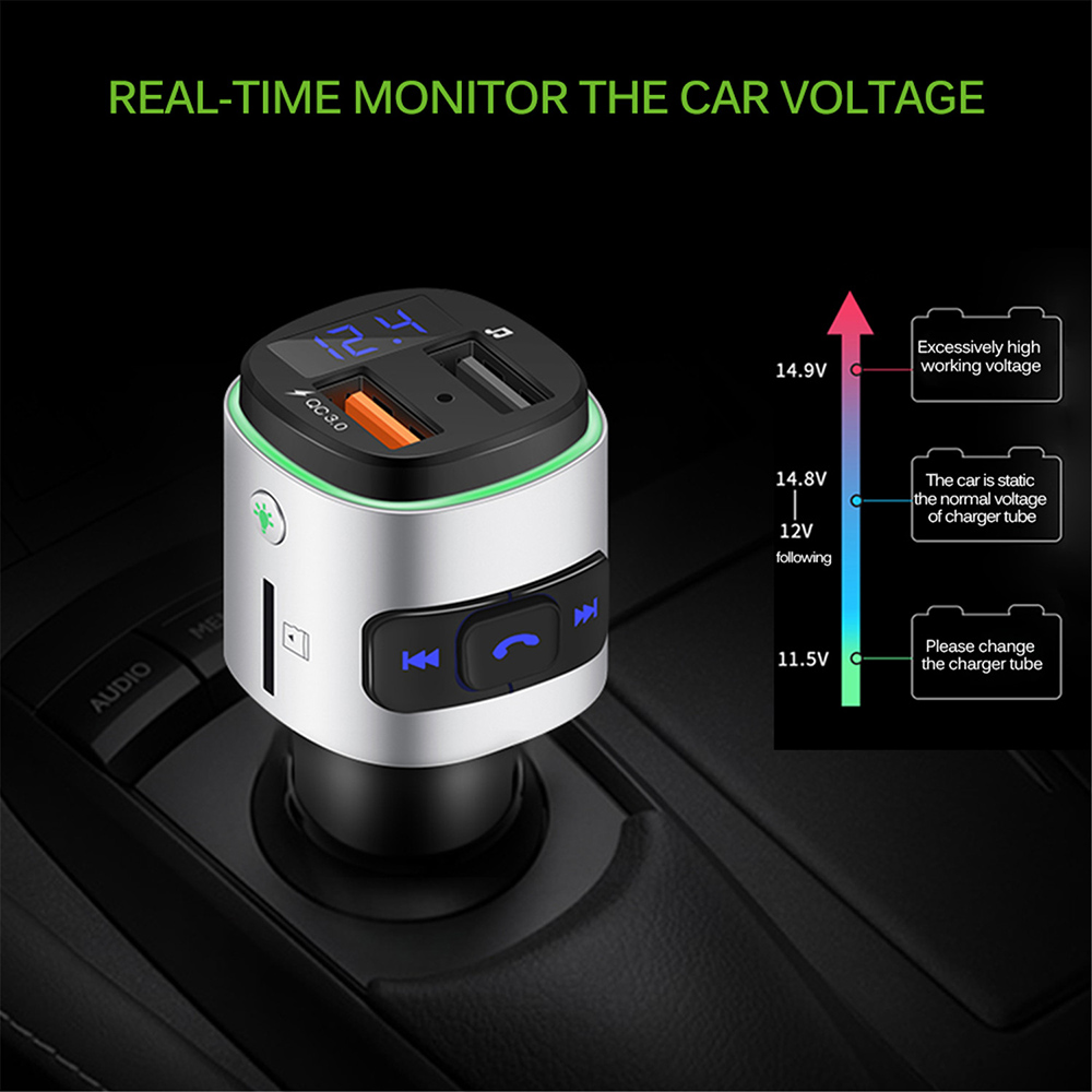 BC41 Bluetooth Car Mp3 Player REAL-TIME MONITOR THE CAR VOLTAGE