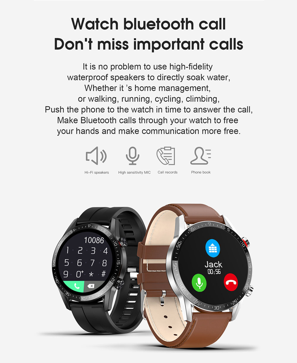 DT21B Fitness Tracker Bluetooth Phone Watch Weather Reports Full-touch HD Color Carbon Fiber Body Multi Sport Watch - Silver Regular