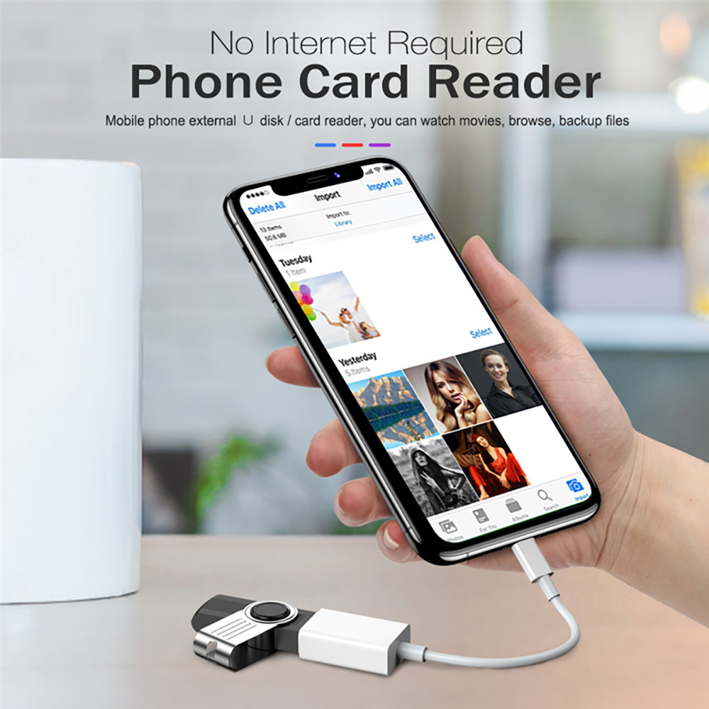 OTG USB 3.0 Camera Reader Adapter IOS 13 Connector Kit Data Cable for iPhone - White