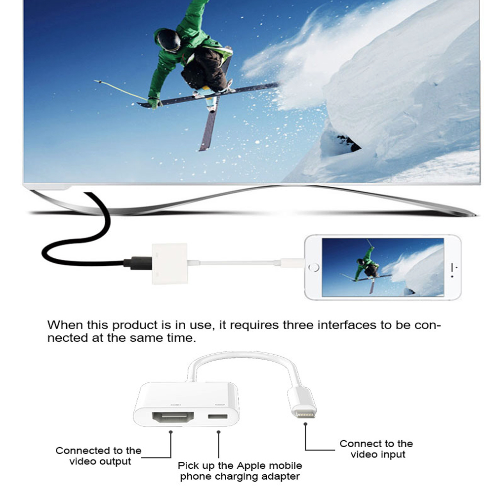 8 Pin Turn Hdmi High-definition Cable HDMI with 1080P HD Screen Device - White