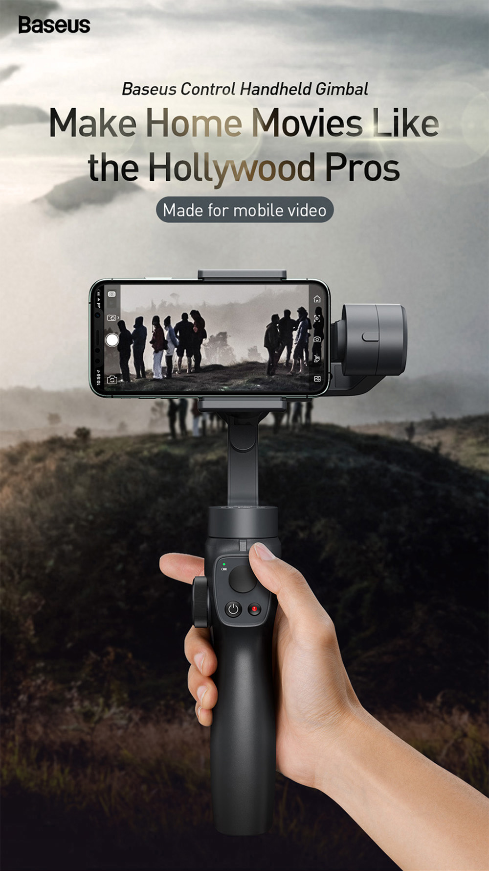 Baseus Gimbal Stabilizer for iPhone Action Camera - Black