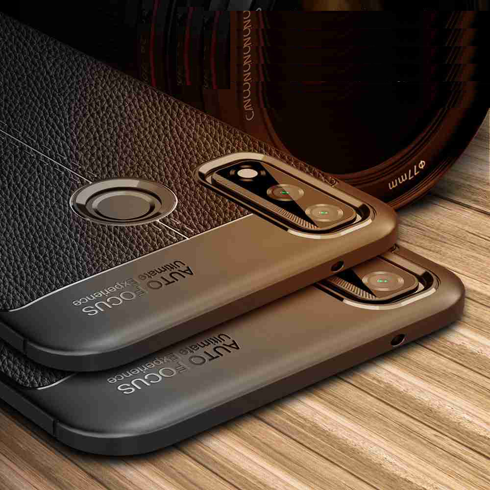 Leather Texture Carbon Fiber Phone Case for Huawei Y8s - Black